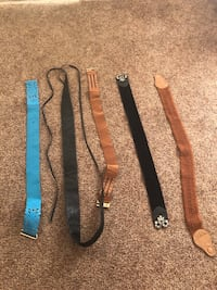 five assorted-color straps