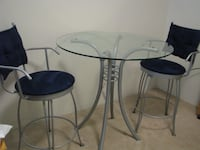 Dining table with 2 suede bar stools Richmond