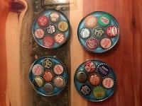 New coasters featuring vintage soda caps encased in resin with an ocean blue undertone  Hampton, 23669