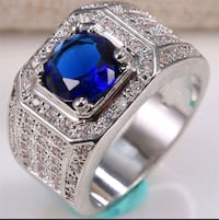 Men's Vintage Ring Sapphire Blue Gemstone 925 Sterling Silver Ring Fashion Jewelry. New City, 10956