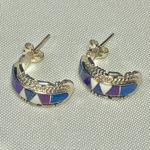 Genuine Navajo Mosaic Sterling Silver Lapis Sugilite Earnings db4389a7-70df-460e-a3a2-582a8197356a