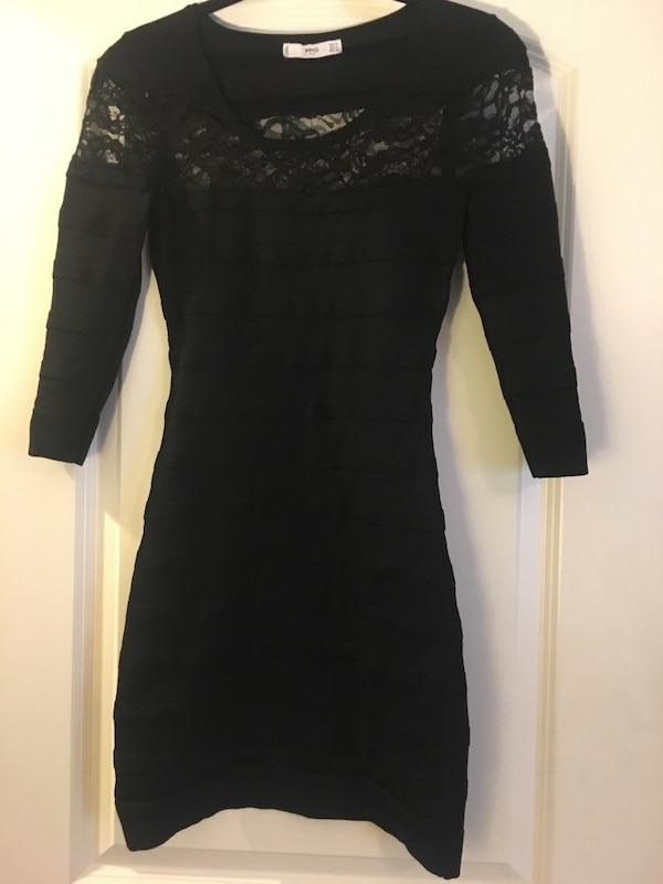 Small stretchy black bandage and lace bodycon dress