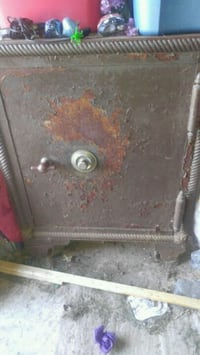 This is a vintage metal safe Ogdensburg, 13669