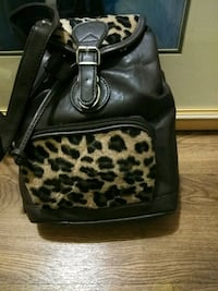 black and brown leopard print leather backpack Templeton, 93465