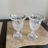 two clear cut glass footed cups 3117 km