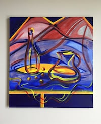 Still Life in Red and Blue (Original Acrylic Painting)