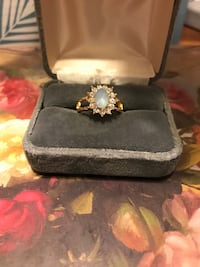 Pretty! Gold blue Stone Ring with Diamond Crystals Gainesville, 20155