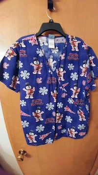 blue and white floral button-up shirt Minneapolis, 55402