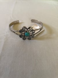 silver-colored cuff ring with teal gemstone Bell, 90201