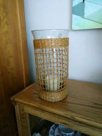 GLASS AND WICKER CANDLE HOLDER WITH CANDLE Lakewood