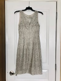 Beautiful Silver sequins cocktail dress size 8 Bowie