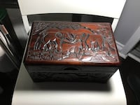 Hand carved wooden chest box