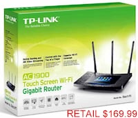 TP-LINK AC1900 Touchscreen Wireless Dual Band Gigabit Router 55 km
