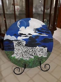 White and black tiger painted wood plate beautiful