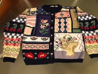 Navy Blue Sweater With Multi-Colored Embroidered Flowers, Cherries, and Designs-Size Extra Small Beavercreek, 45432