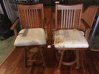 two white wooden framed padded chairs Calgary, T2B 1T4