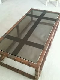 brown wooden framed glass top coffee table Pompano Beach, 33062