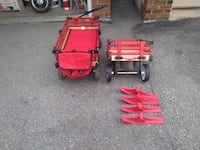 """Millside Industries Convertible Sleigh Wagon with Red Rails w/Extended Wagon  Deluxe convertible wagon with 8"""" (20 cm) rubber tread wheels easily converts to sleigh for winter use. Provides a great way to carry kids during the winter months and a fun carr Toronto"""
