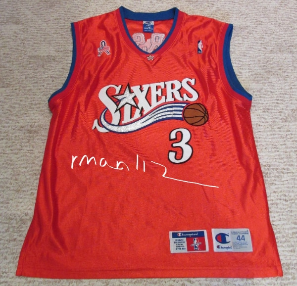 the latest b580d 70f96 Authentic Allen Iverson Red Champion Sixers Jersey Size 44