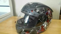 black, red and gray printed full-face helmet