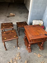 two brown wooden side tables 148 mi
