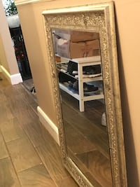 Rectangular vanity mirror with metallic silver frame  Surrey, V3T
