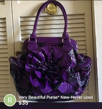 Gorgeous Purple floral leather tote Big bag