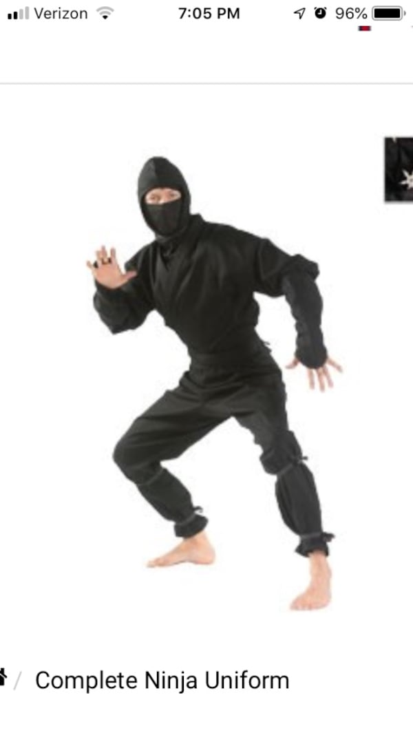 Ninja Uniform/ Outfit - size small 38e14dd3-2608-49a8-a5d5-930d24bb7647