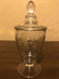 Antique etched candy dish with lid  Lancaster, 17603