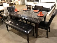rectangular black wooden table with six chairs dining set Houston, 77041