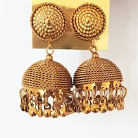 Indian bollywood style ethnic golden jhumka earrings Riverwood, 2210