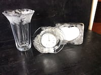 clear cut glass framed analog table clock, photo frame and flower vase Fleming Island, 32003