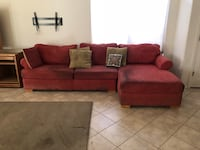 red suede sectional couch with throw pillows Scottsdale, 85258