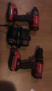 Craftsman drill, impact gun, charger and 2 batteries  Surrey, V3S 2T6