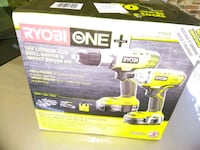 green RYOBI One+ drill and impact wrench kit box Lilburn, 30047