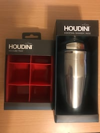 Houdini cocktail shaker box and Houdini ice cube tray box