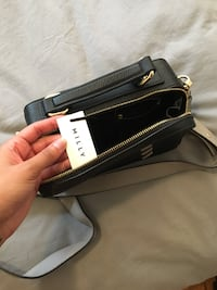 black and gray leather crossbody bag New York, 10029