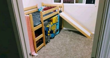 Twin size loft bed with slide