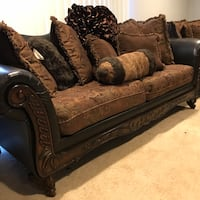 brown and gray floral 2-seat sofa 37 km