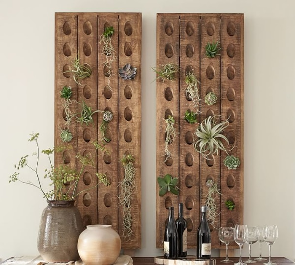 Pottery Barn French Wine Bottle Riddling Rack Mango Wood With Rustic Knotty Finish
