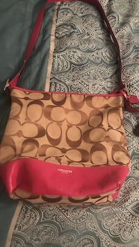 brown and pink monogrammed Coach leather crossbody bag Huntsville, 35816