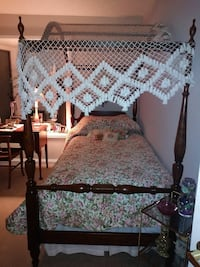 Antique 4 poster wooden canopy twin beds