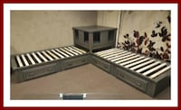 black and brown wooden bed frame Pompano Beach