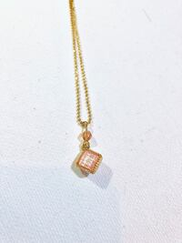 Small Pink-Gold Square Charm Necklace Toronto, M6P 2W7