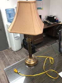 brass base table lamp with beige lampshade Toronto, M9L 2R6