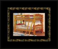 Wooden twin bunkbed frame with 2 mattress 32 mi