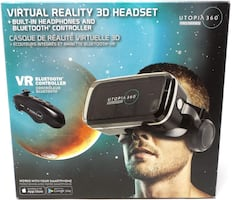 Utopia 360 Virtual Reality 3D Headset with Built-in Headphones