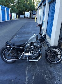 black and gray chopper motorcycle