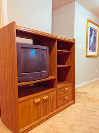 Entertainment center with box tv and remote