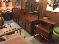 Mid Century Atomic Bedroom Set: Full Size Bed, Tall Boy Chest, Low Boy Dresser, Nightstand Catonsville, 21228
